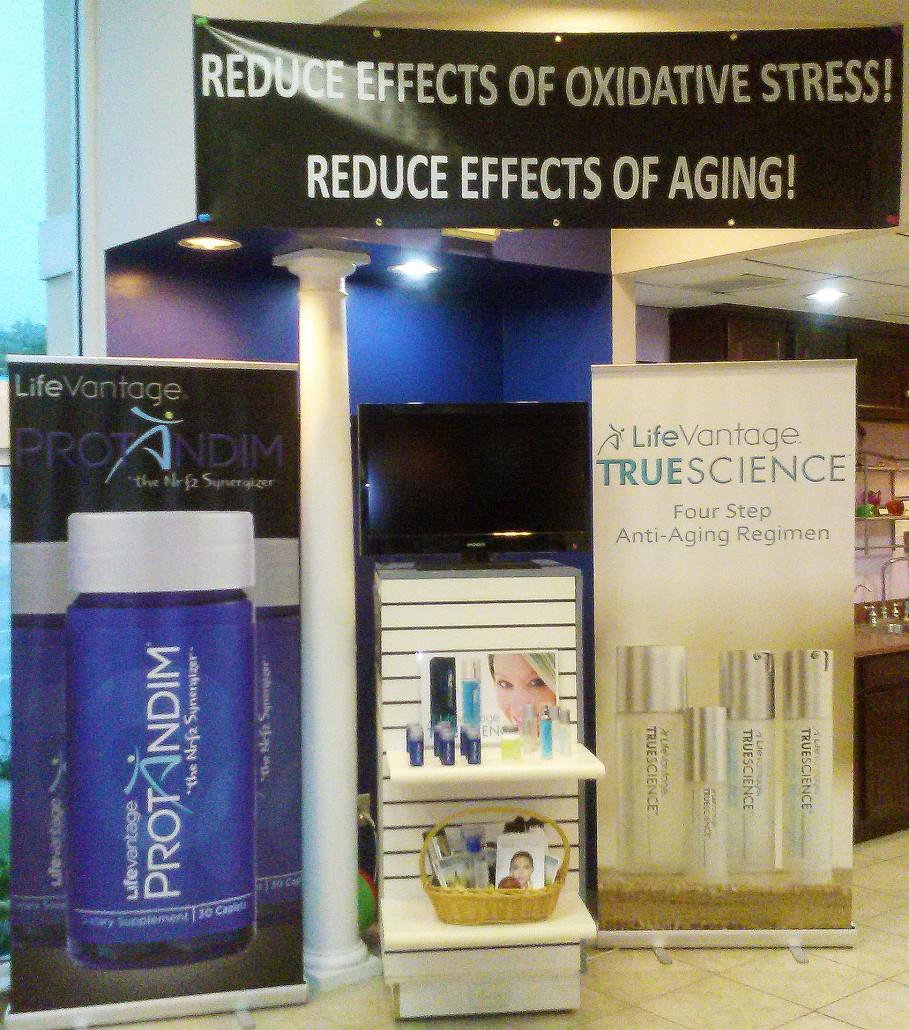 Store Display of Protaindim Supplement and TrueScience Anti Aging Regimen