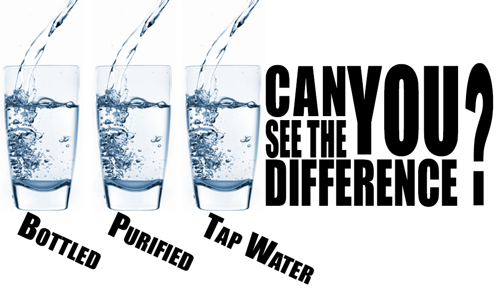 Bottled, Purified, and Tap Water - Can you see the difference?